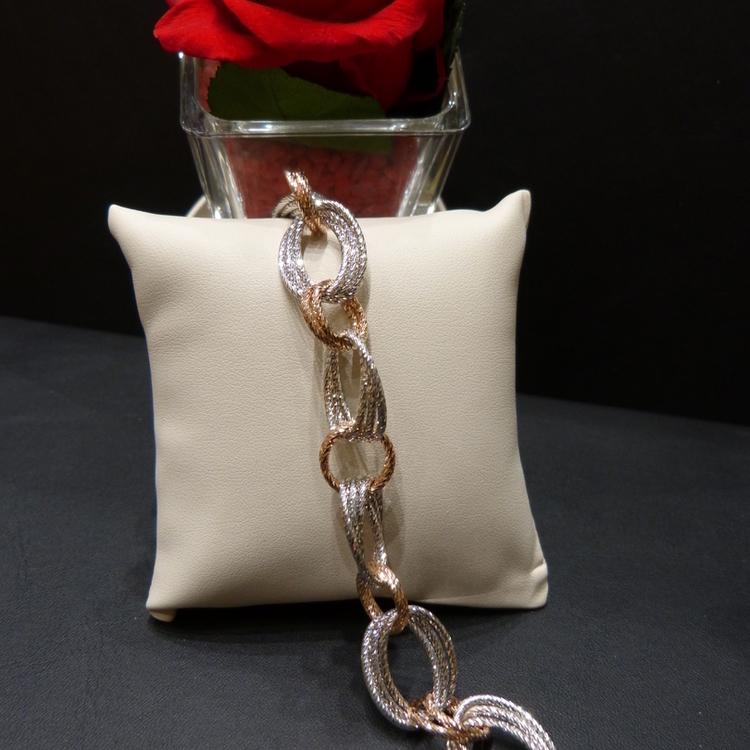 Bracelet argent et vermeil rose