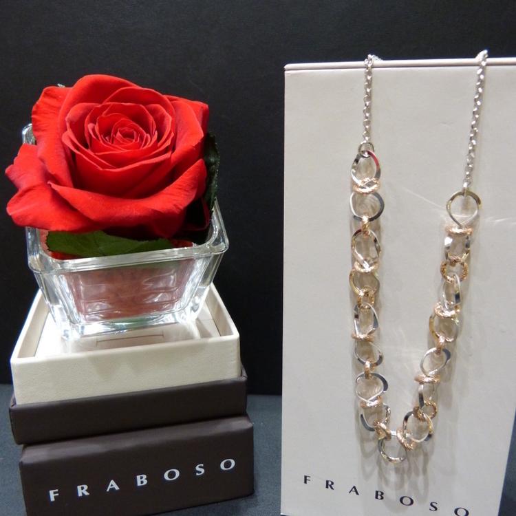 Collier en argent et vermeil rose